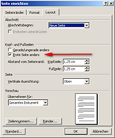 Screenshot der Layout-Einstellung