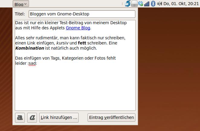 Screenshot von Gnome Blog